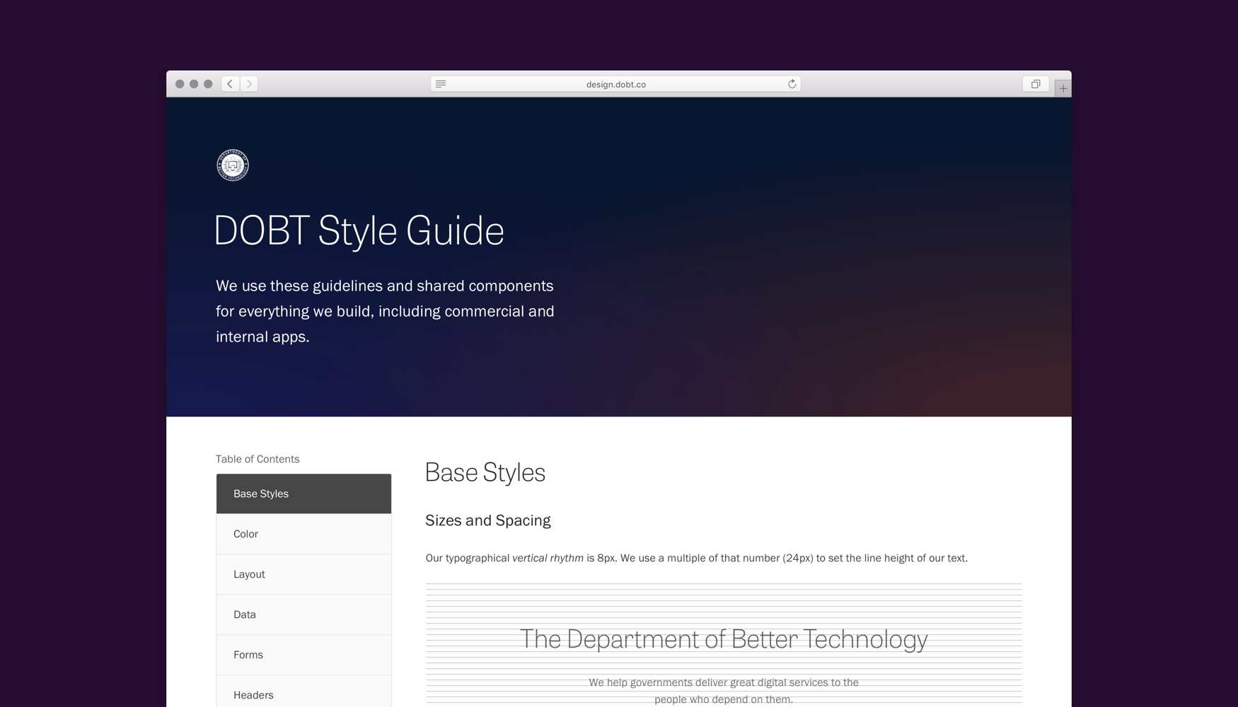 The homepage of the DOBT Style Guide