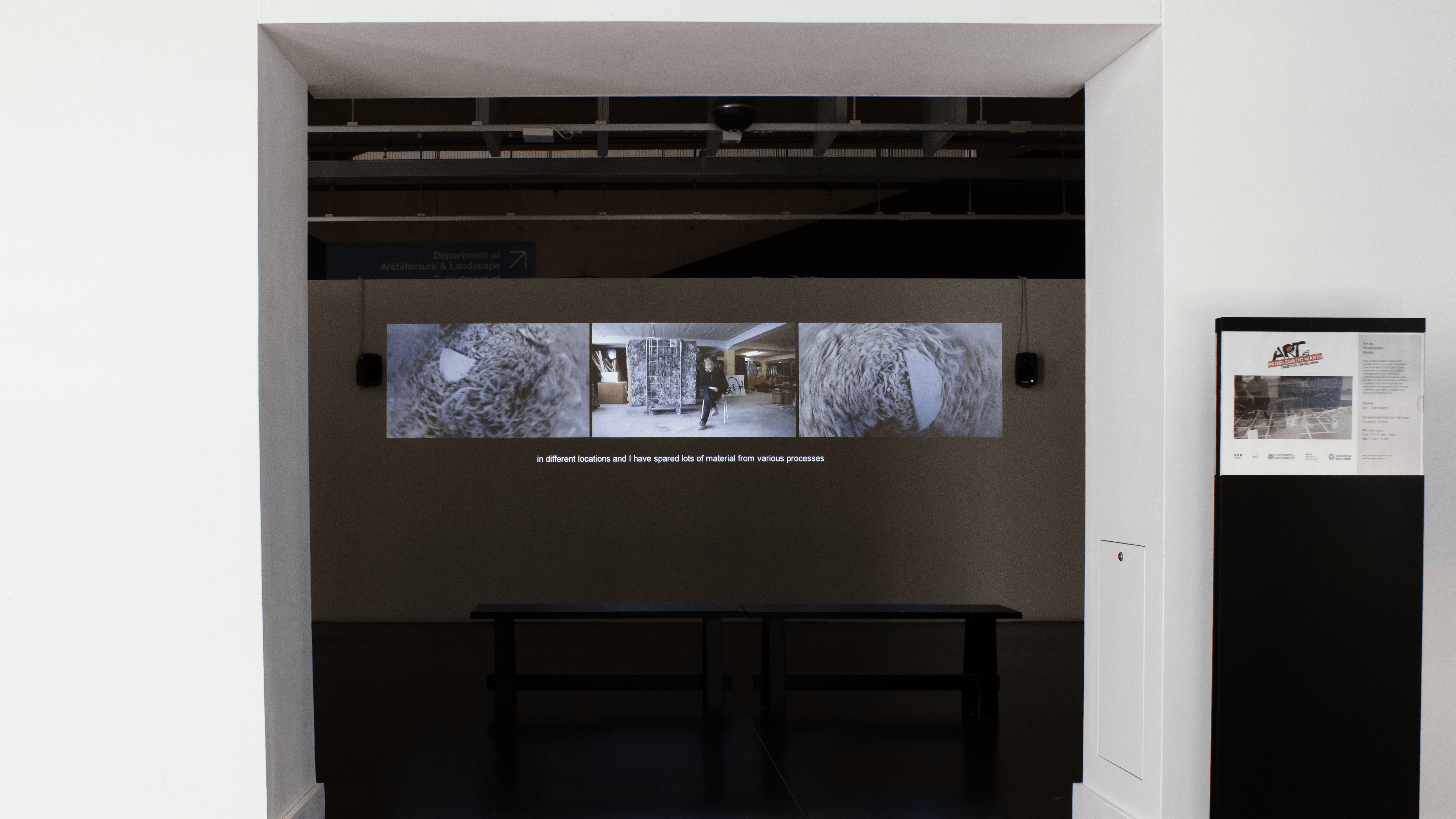 Installation shot of the Art as Problematic Waste Tryptych video by Aimo Hyvärinen and David Chapman,