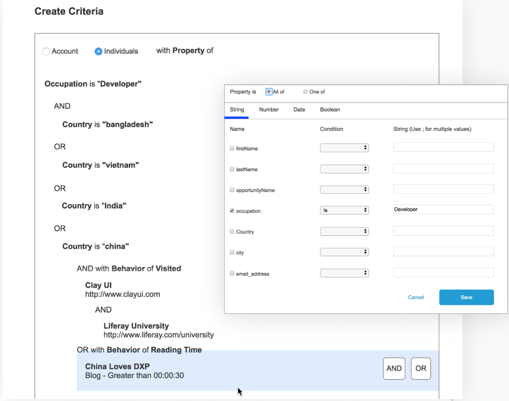 """Prototype A allowed users to select multiple criteria and values in a modal. We also tested the concept of nesting, we gathered positive feedback around this feature as well as multi-select and multi-value inputs. And/or operators were hard to understand when presented as """"All of/One of"""" and nesting organization needed some work."""
