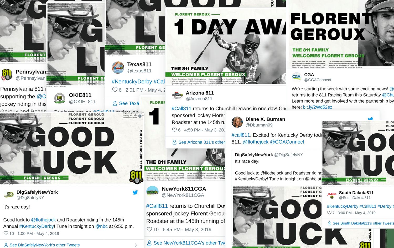 Screenshots of shared social media graphics of Florent Geroux