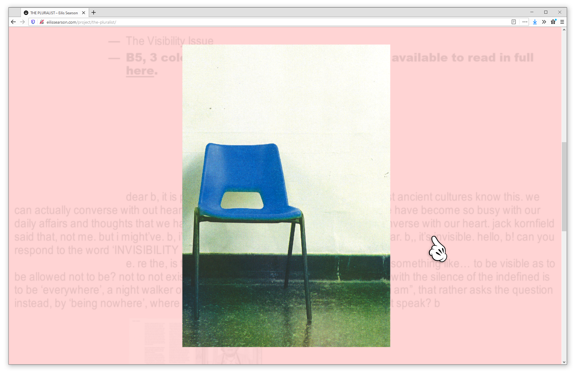 Screenshot of web browser showing a project page on eilissearson.com. A large image of a blue plastic chair on a shiny green floor appears on a light pink background. The cursor looks like  Mickey Mouse's hand.