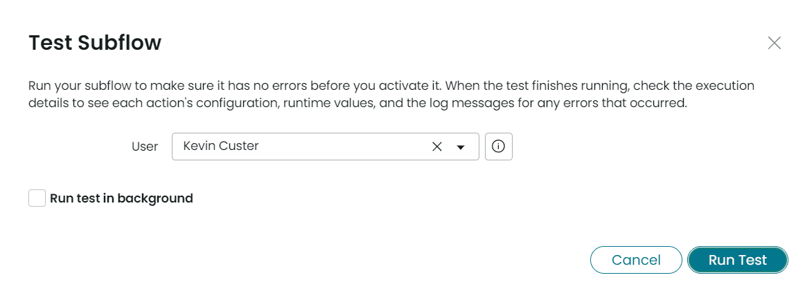 ServiceNow Test Connect Chat Action Subflow Run Test