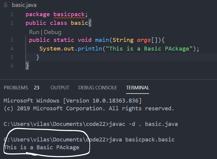 Java Packages Output