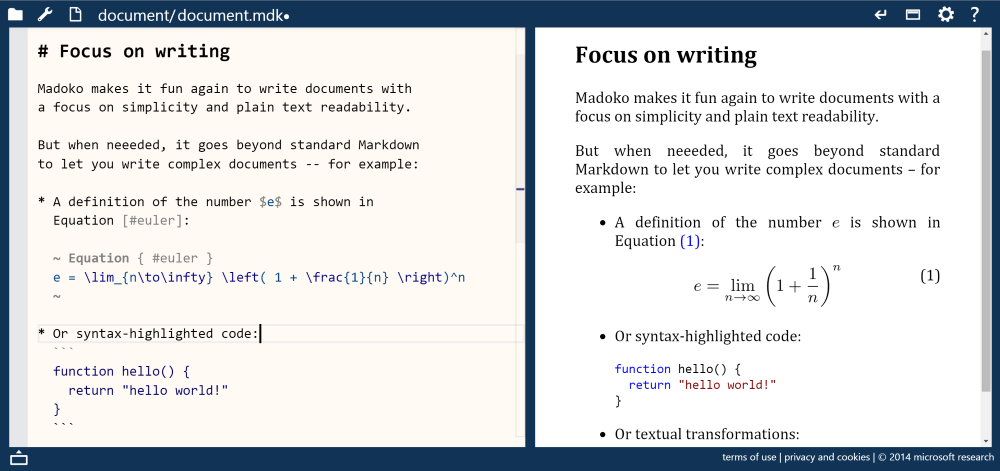 Modako editor interface