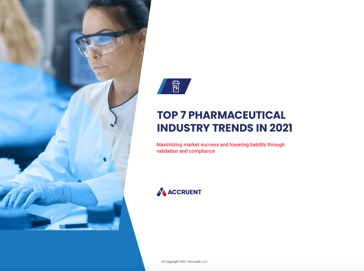 Accruent - Resources - eBooks - TOP 7 PHARMACEUTICAL INDUSTRY TRENDS IN 2021 - Cover Image
