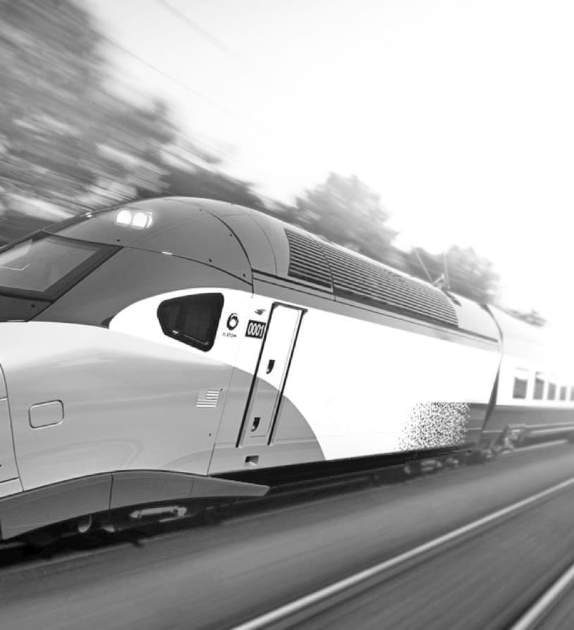 black and white photo of an train