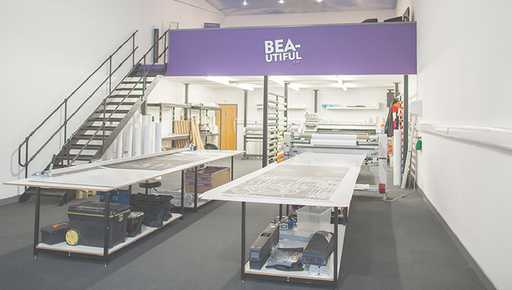 Beautiful Print workshop offices after they win funding whilst using Futrli