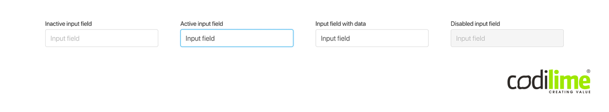 Input field for entering data