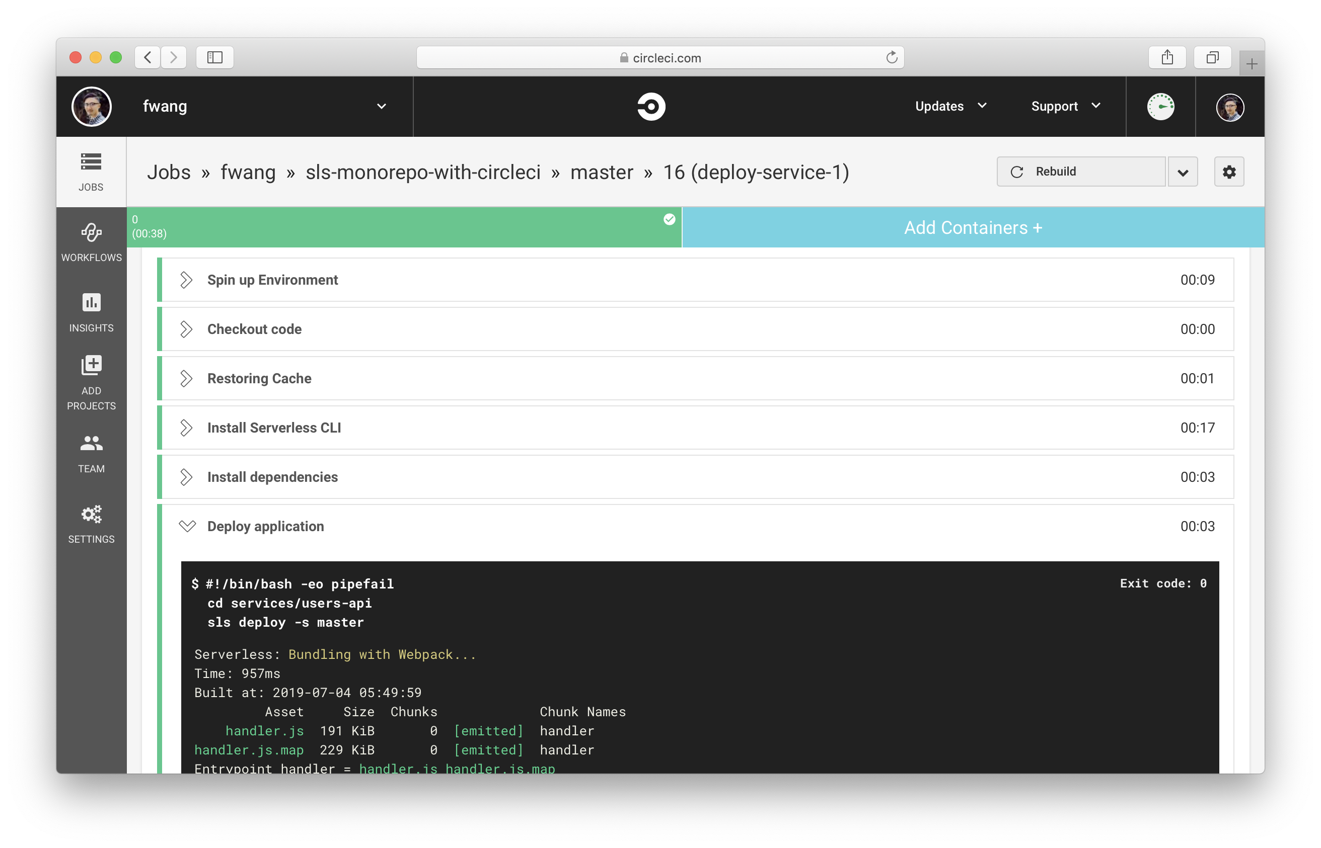 View build logs in CircleCI