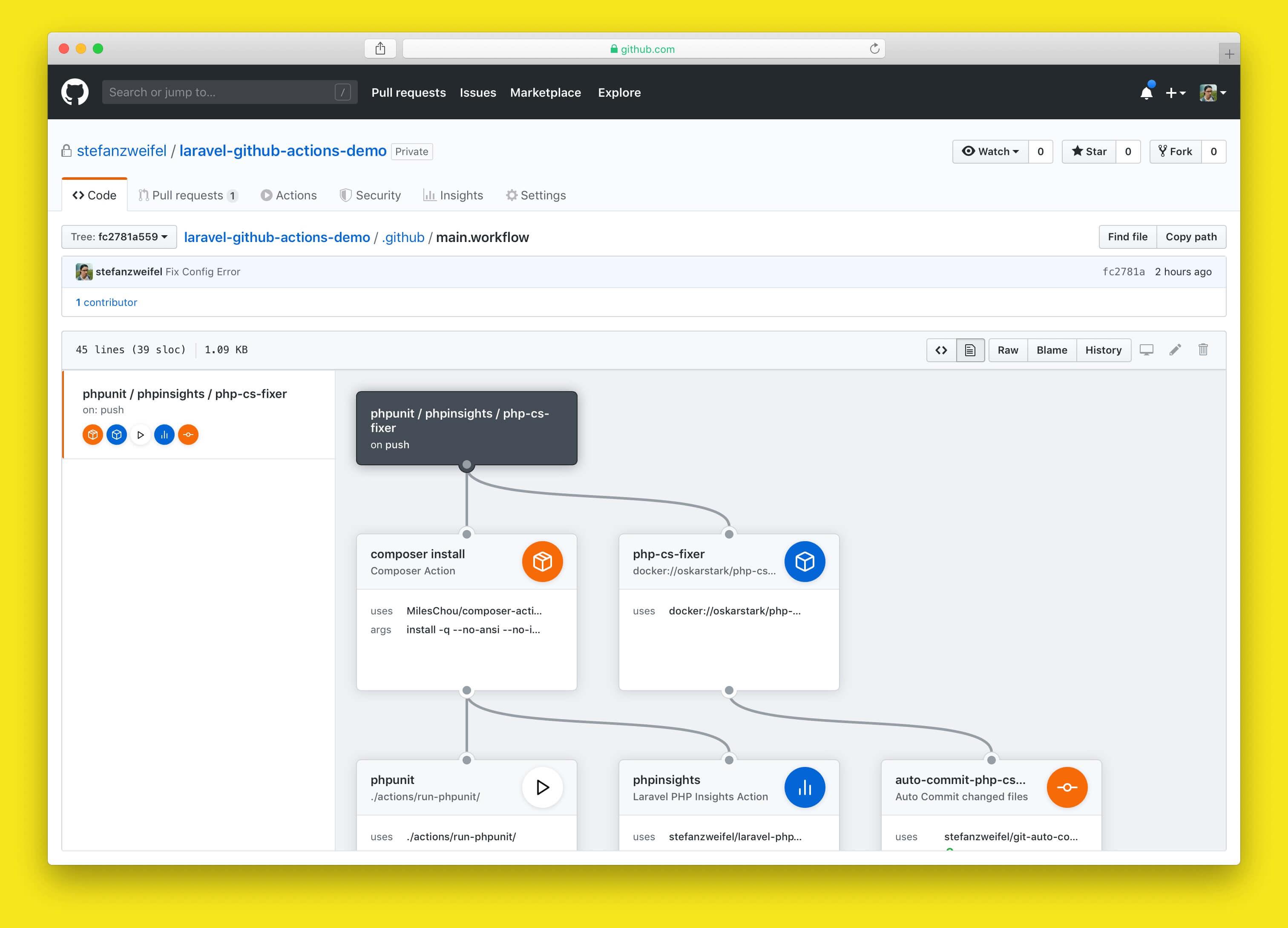 Screenshot of the Visual Editor for GitHub Actions on github.com
