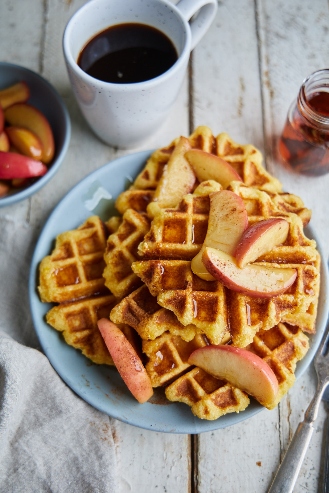 Corn Waffles With Caramelized Apples