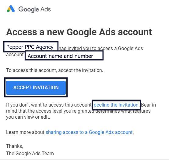 Google Ads access invitation