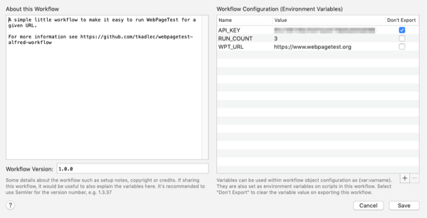 A screenshot of the environmental variables for the WebPageTest Alfred workflow