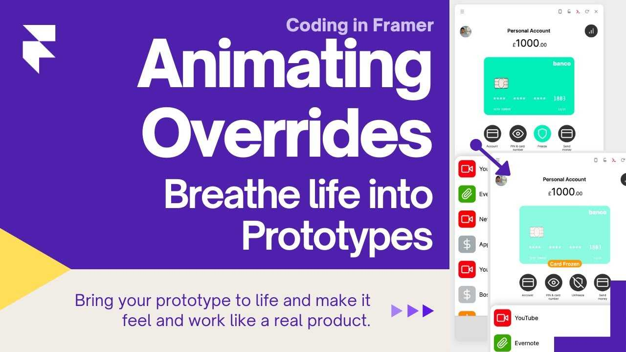 """Title card showing a screenshot of the bank app project and the title """"Animations & Overrides 