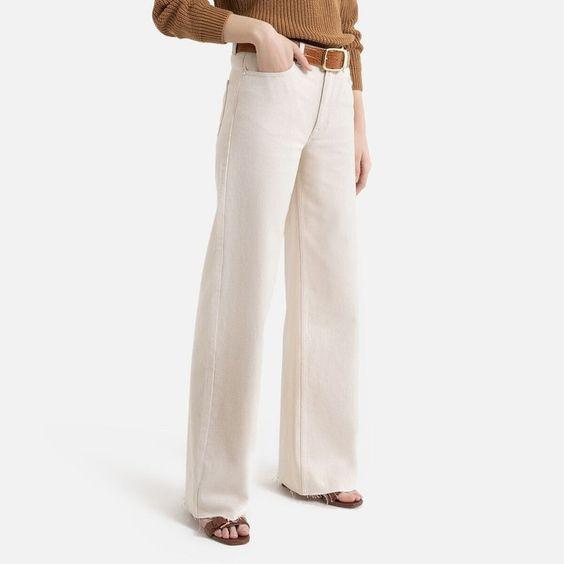 Jean large taille haute coupé en bas