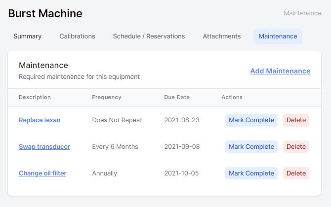 Equipment maintenance list screenshot
