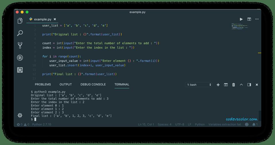 python insert element to list