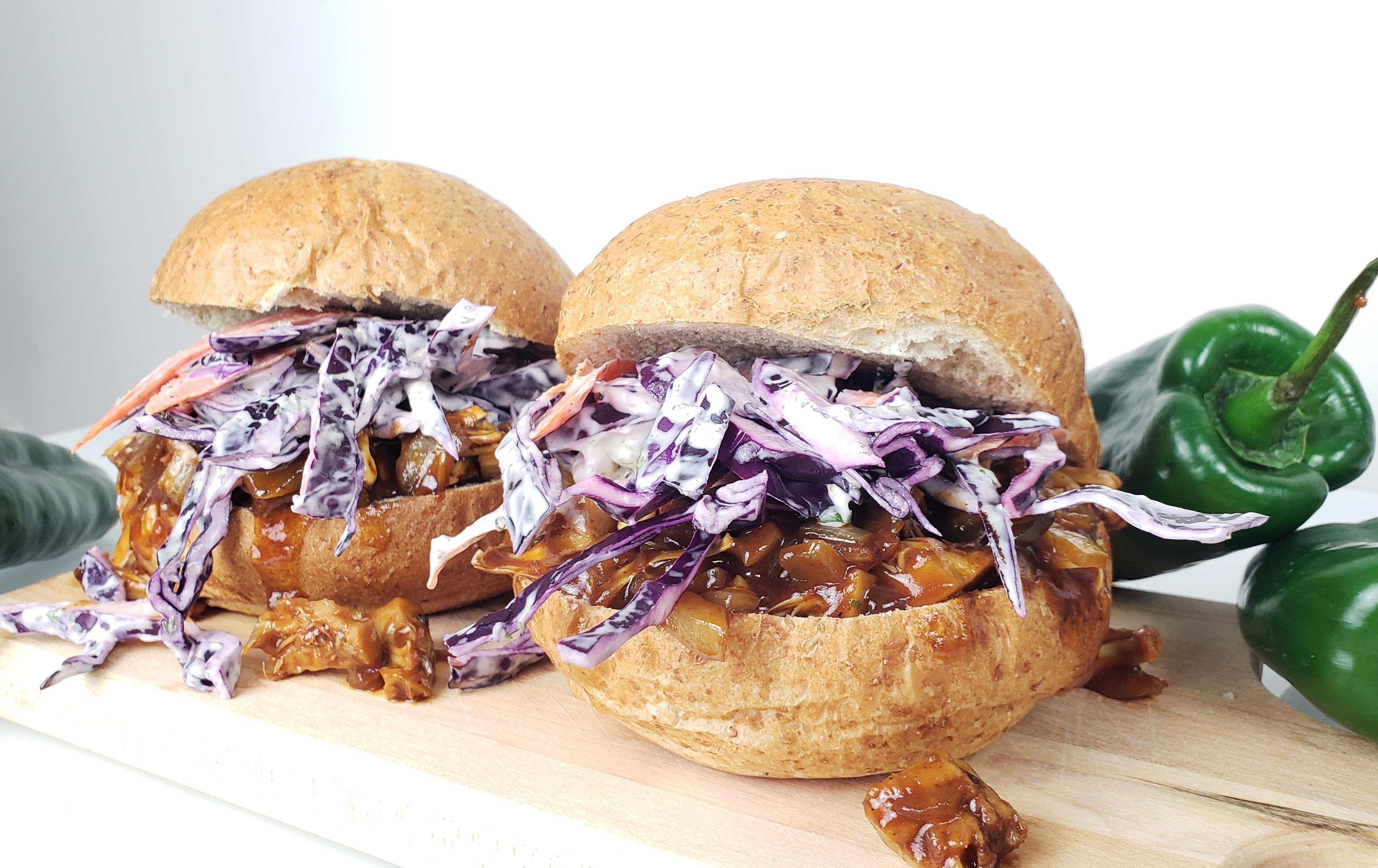 Two pulled bbq jackfruit sandwiches