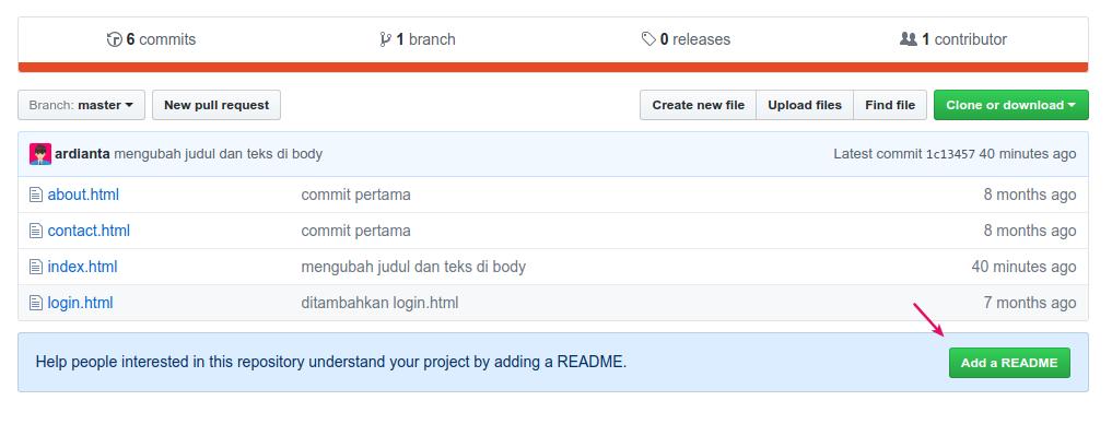 Menambahkan file README