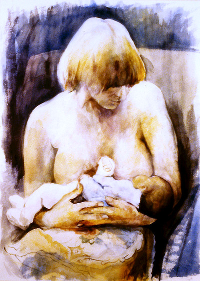 watercolour painting of woman breast feeding baby