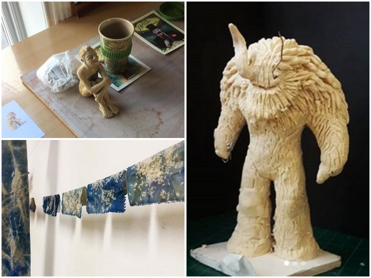 Works-in-progress at Hadleigh Library, clockwise from top left: body sculpture by Lucy Edwards, folk figure by Will Wright, Cyanotype prints by Ellie Seymour