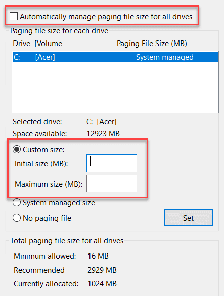 Fix 100% Disk Usage by Resetting Virtual memory