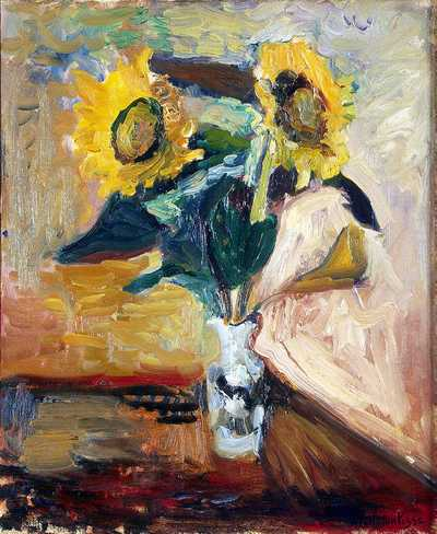 'Vase of Sunflowers' by Matisse in 1898, Hermitage Museum, St. Petersburg, Russia