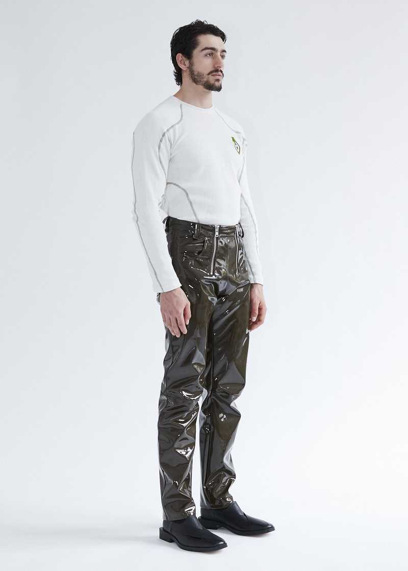 Thor Vinyl Trousers Khaki. GmbH SS20  Spring Summer 2020 collection. Available at gmbhgmbh.eu.