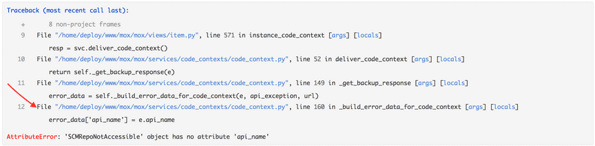 Traceback without code context