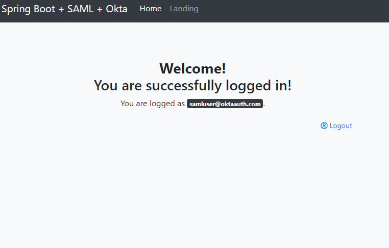 Successful SAML login result