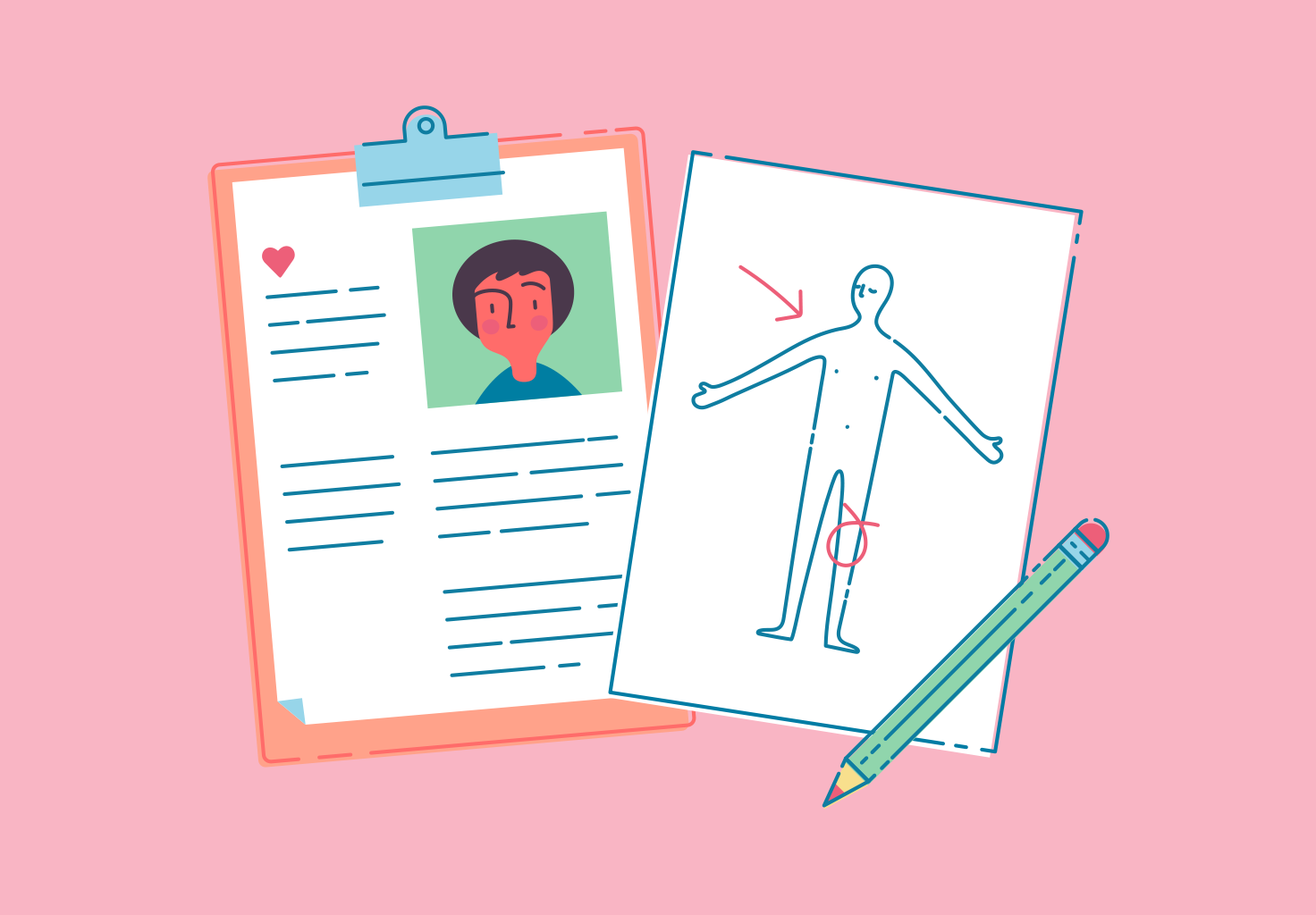 An illustration of a patient record folder, including a body chart.