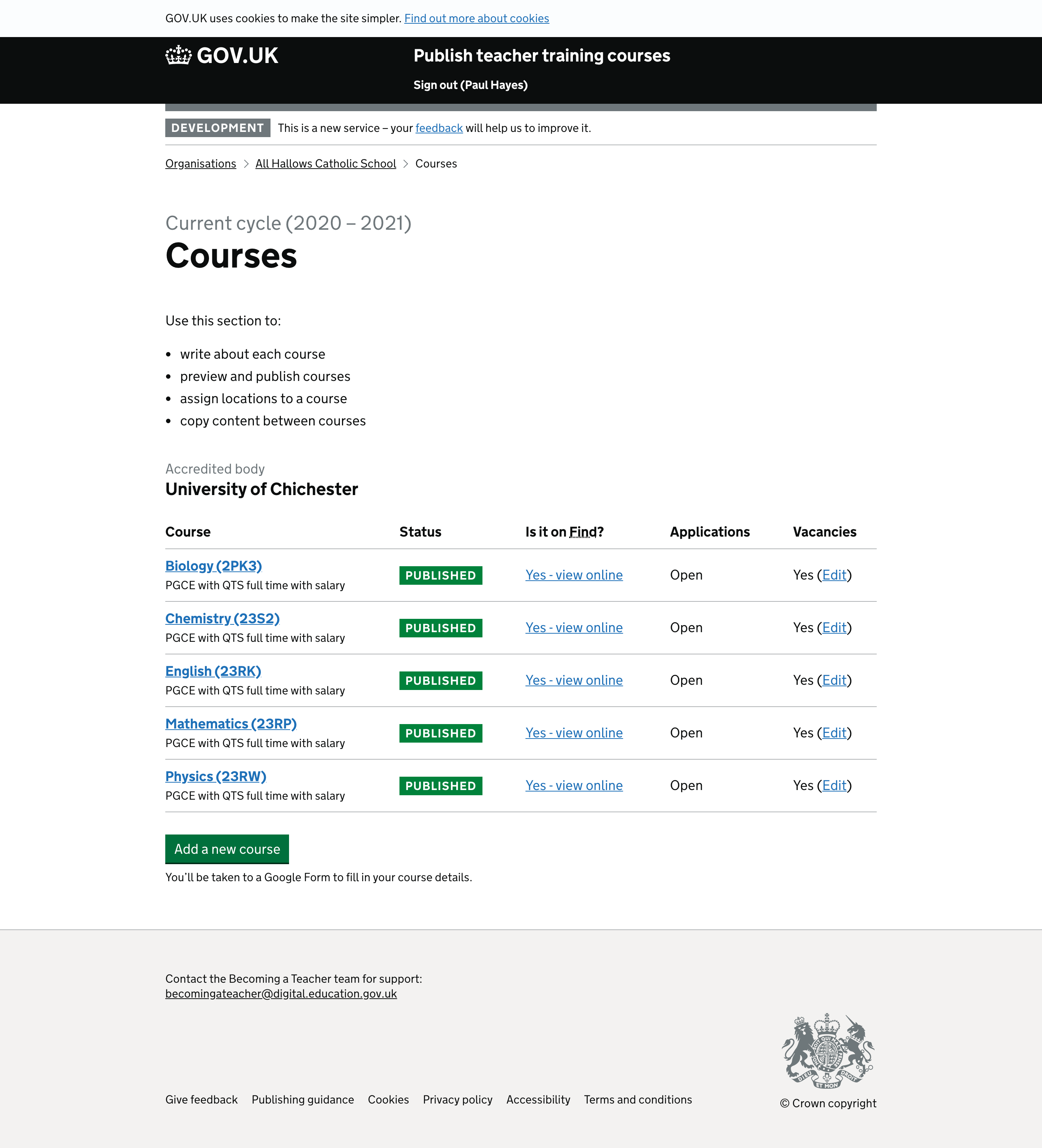 Screenshot of Courses once cycle has opened
