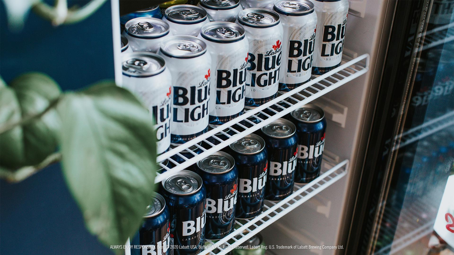 Blue and Blue Light Cans in a Cooler Background