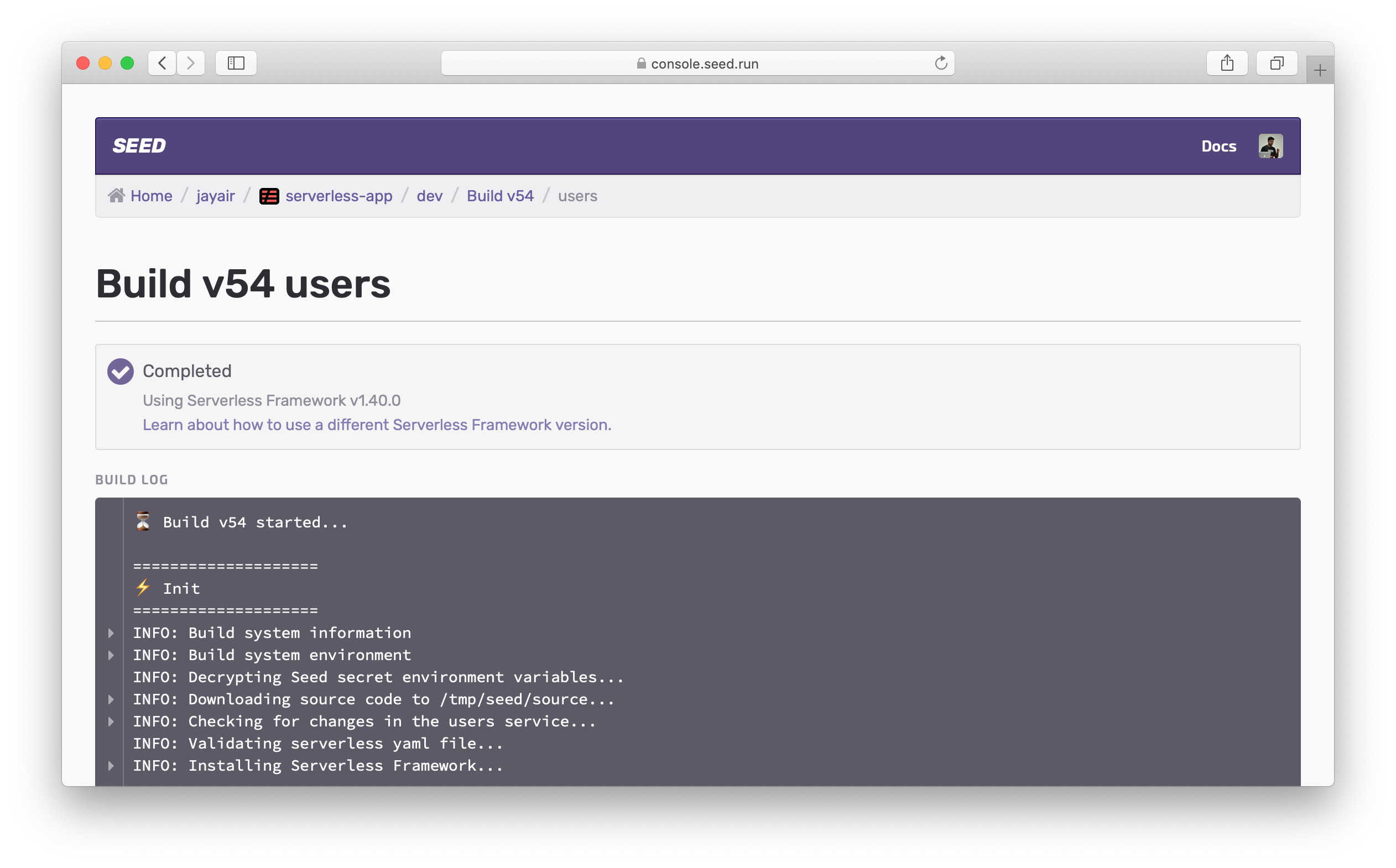Serverless Framework version in build log