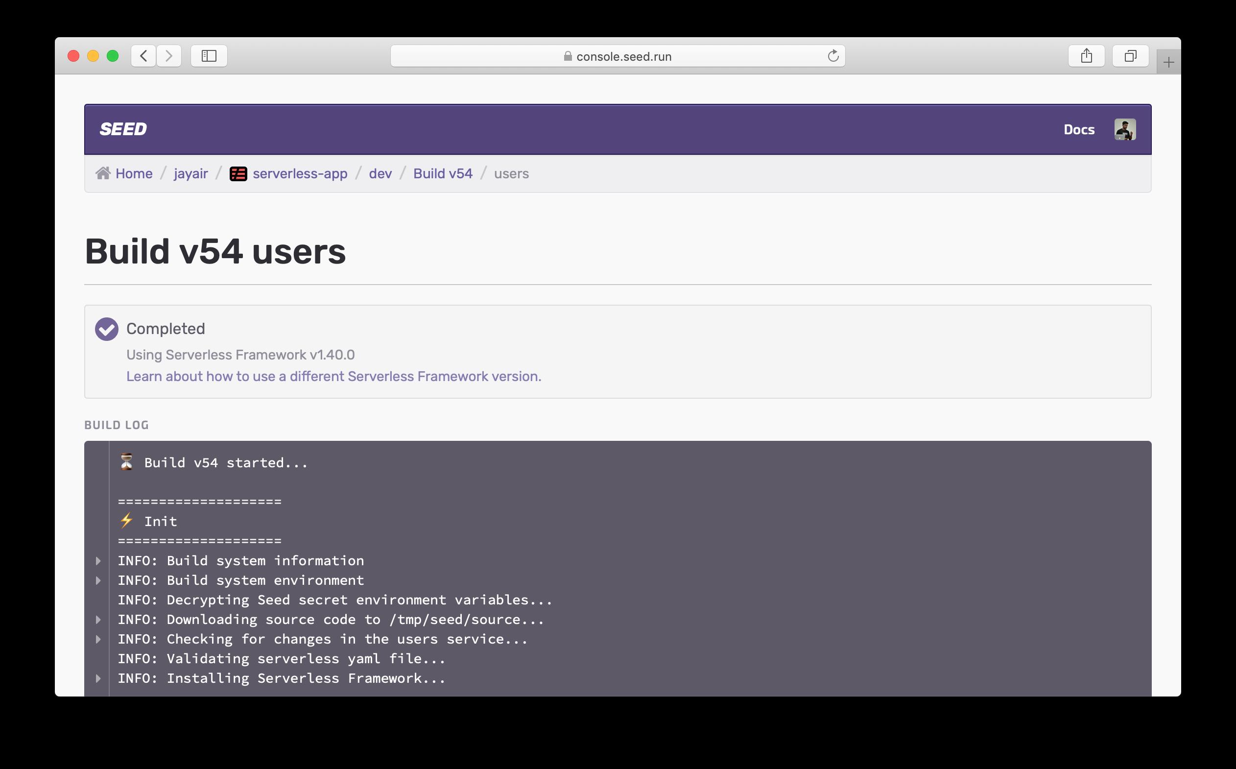Serverless Framework version in build log