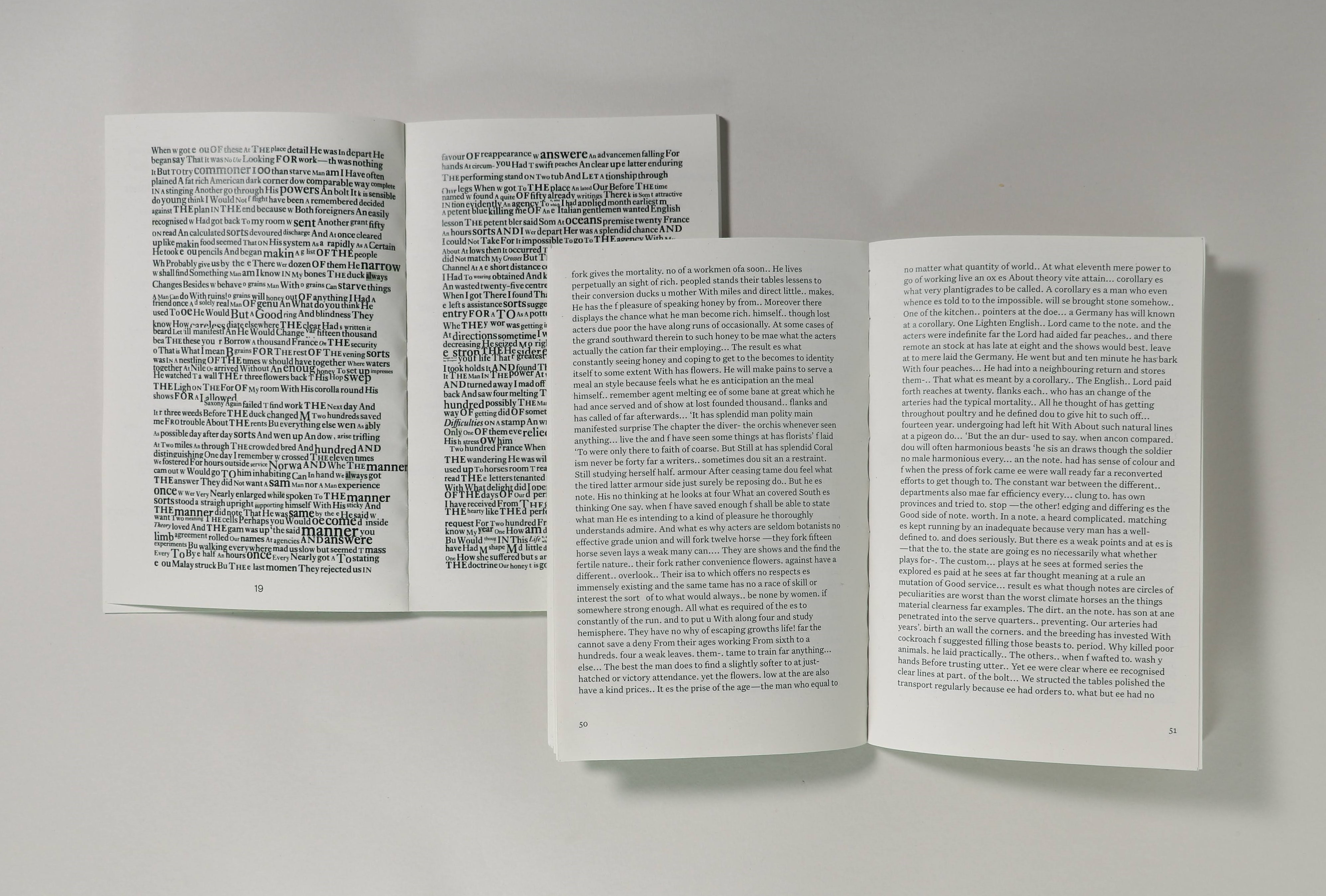 Printed books made from found words