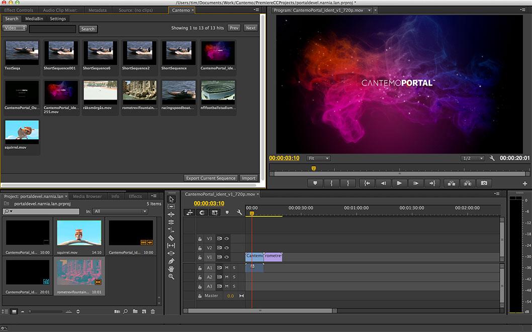 Premiere Pro Integration Tool Cantemo Portal App