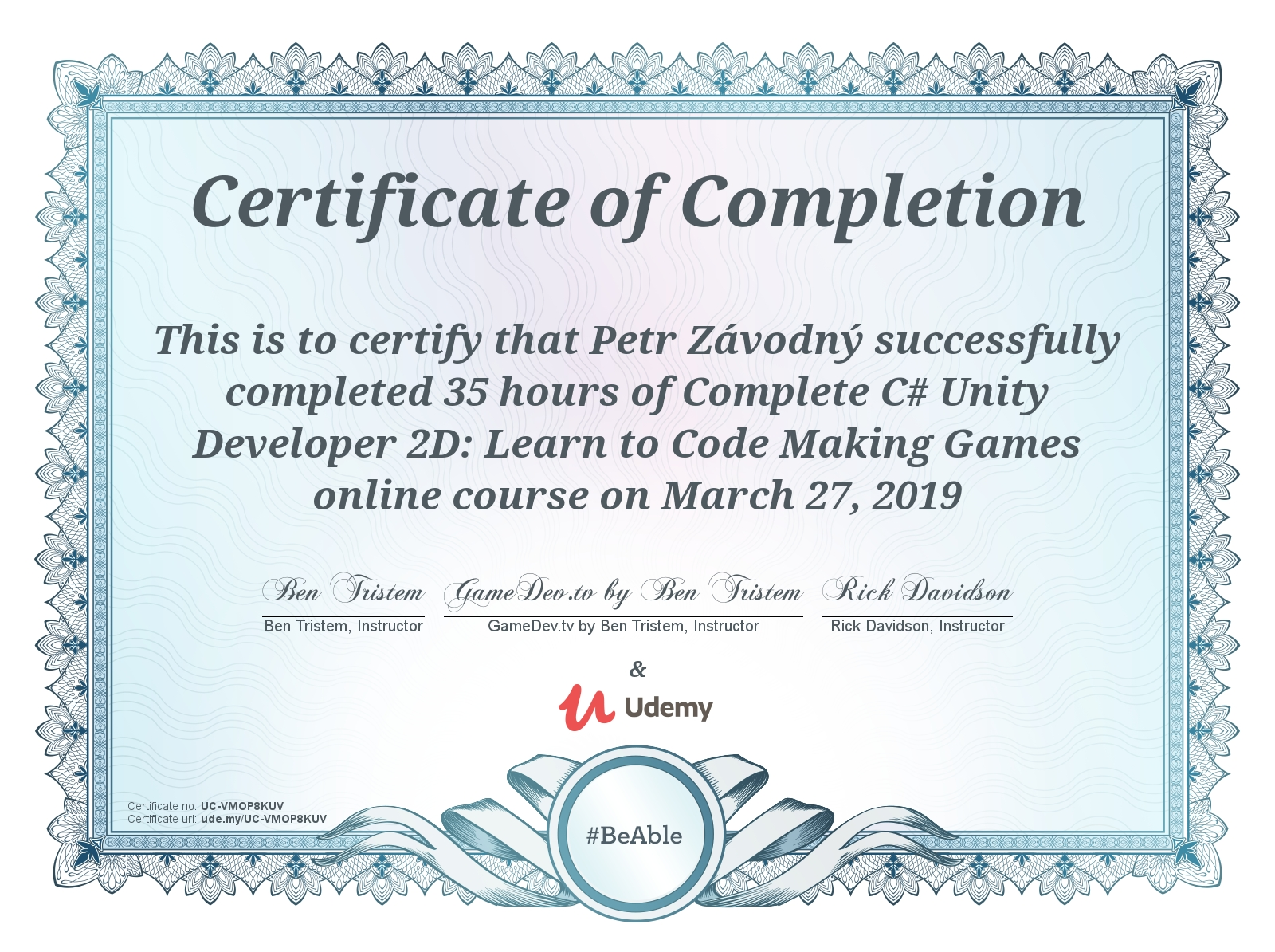 certificate Complete C# Unity Developer 2D: Learn to Code Making Games