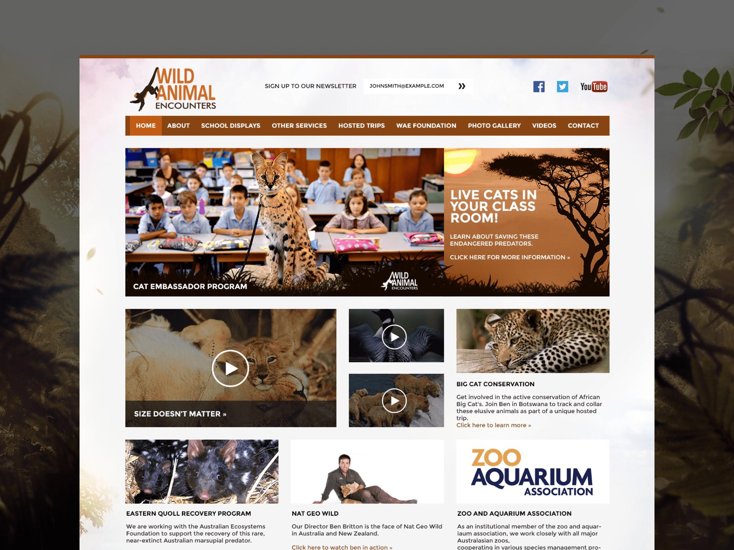 Wild Animal Encounters website