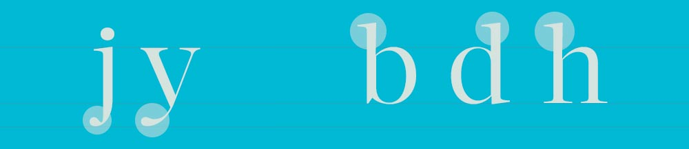 hampe et jambage en typographie