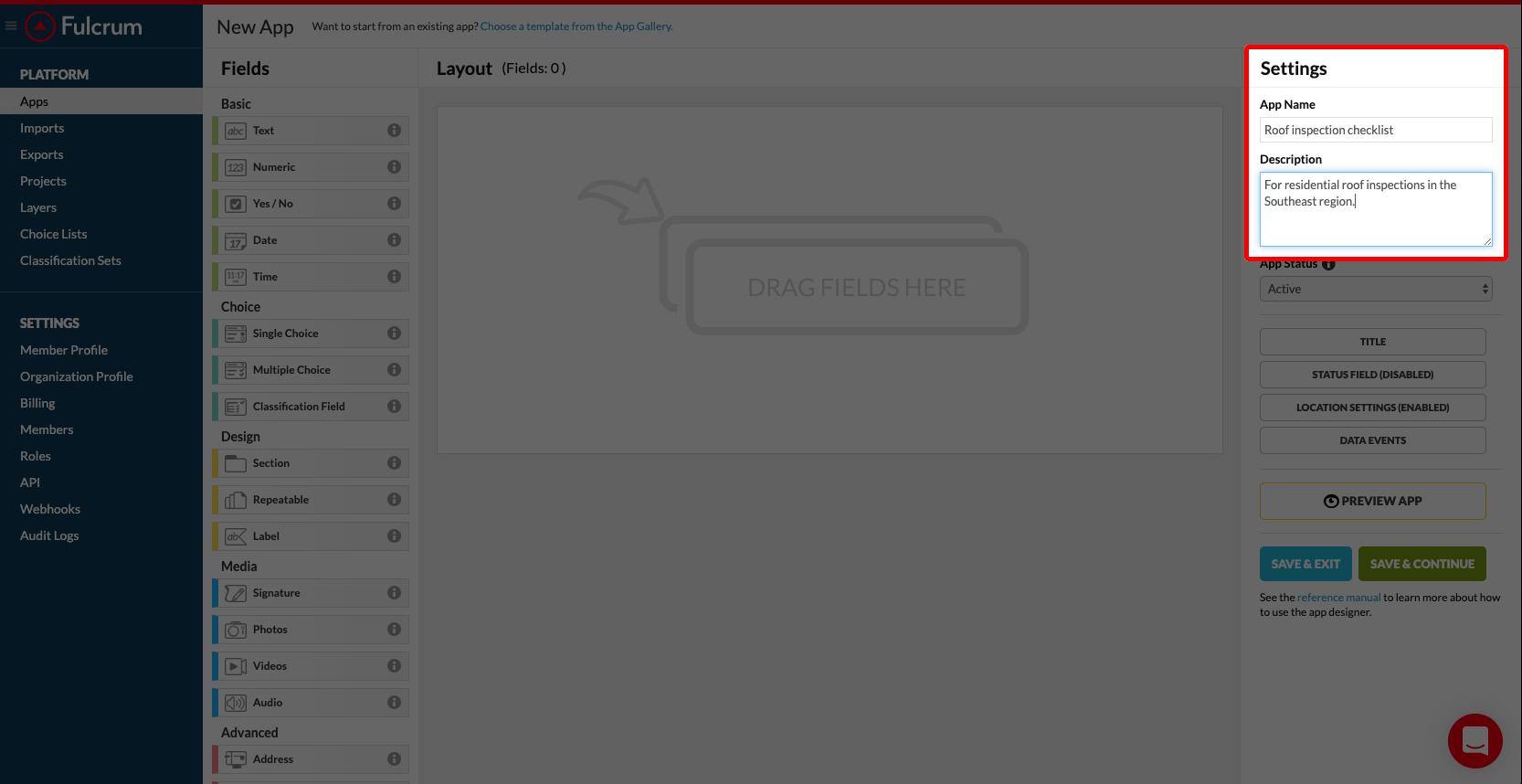 The Settings menu of the Fulcrum app builder
