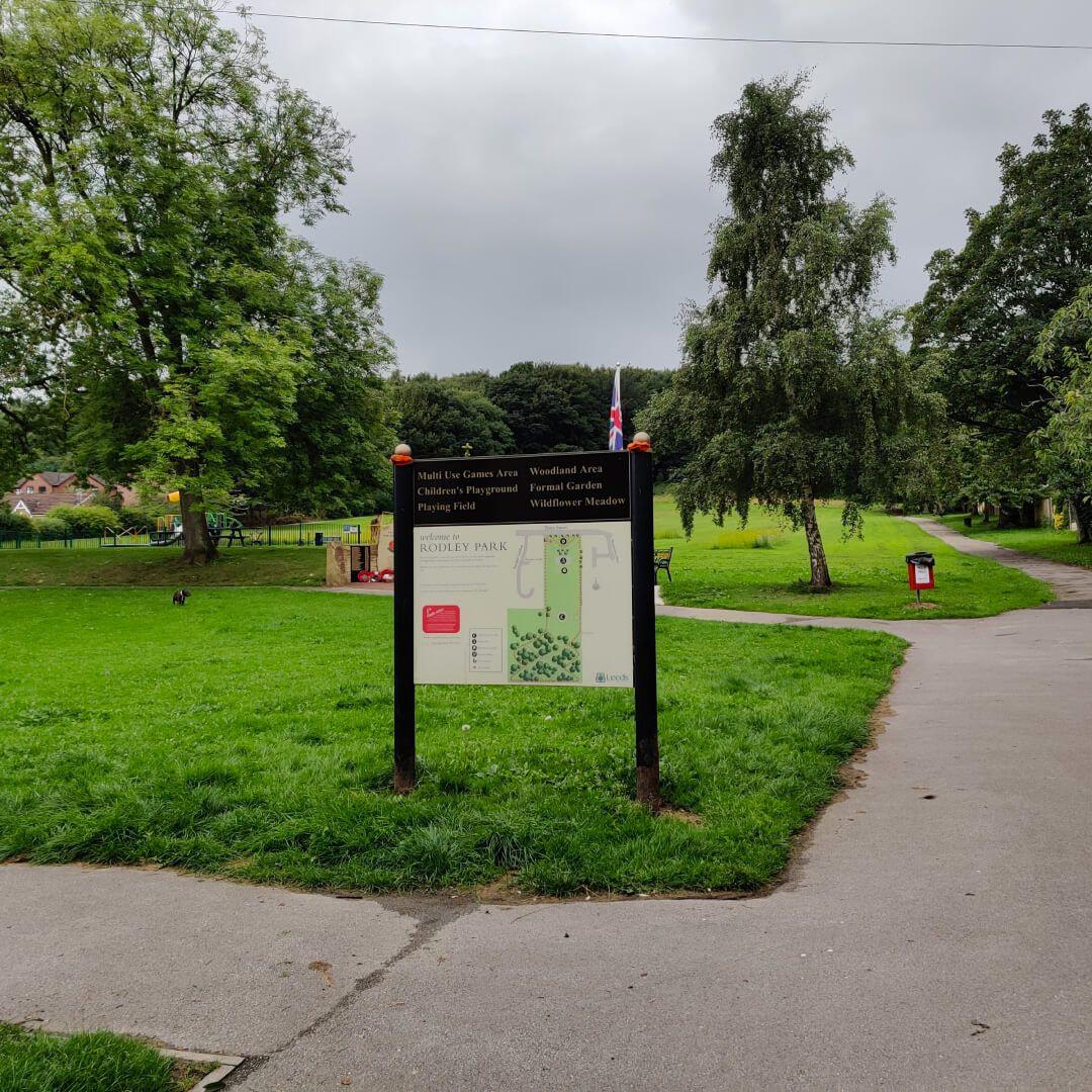 Rodley Park sign