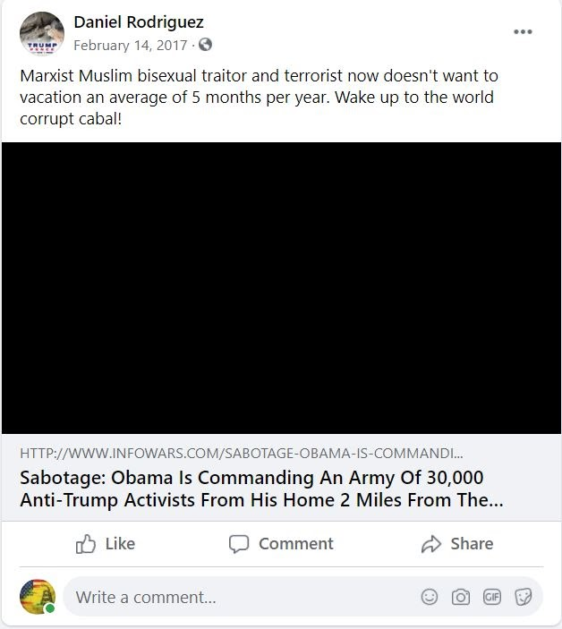 Rodriguez's unhinged post about Obama