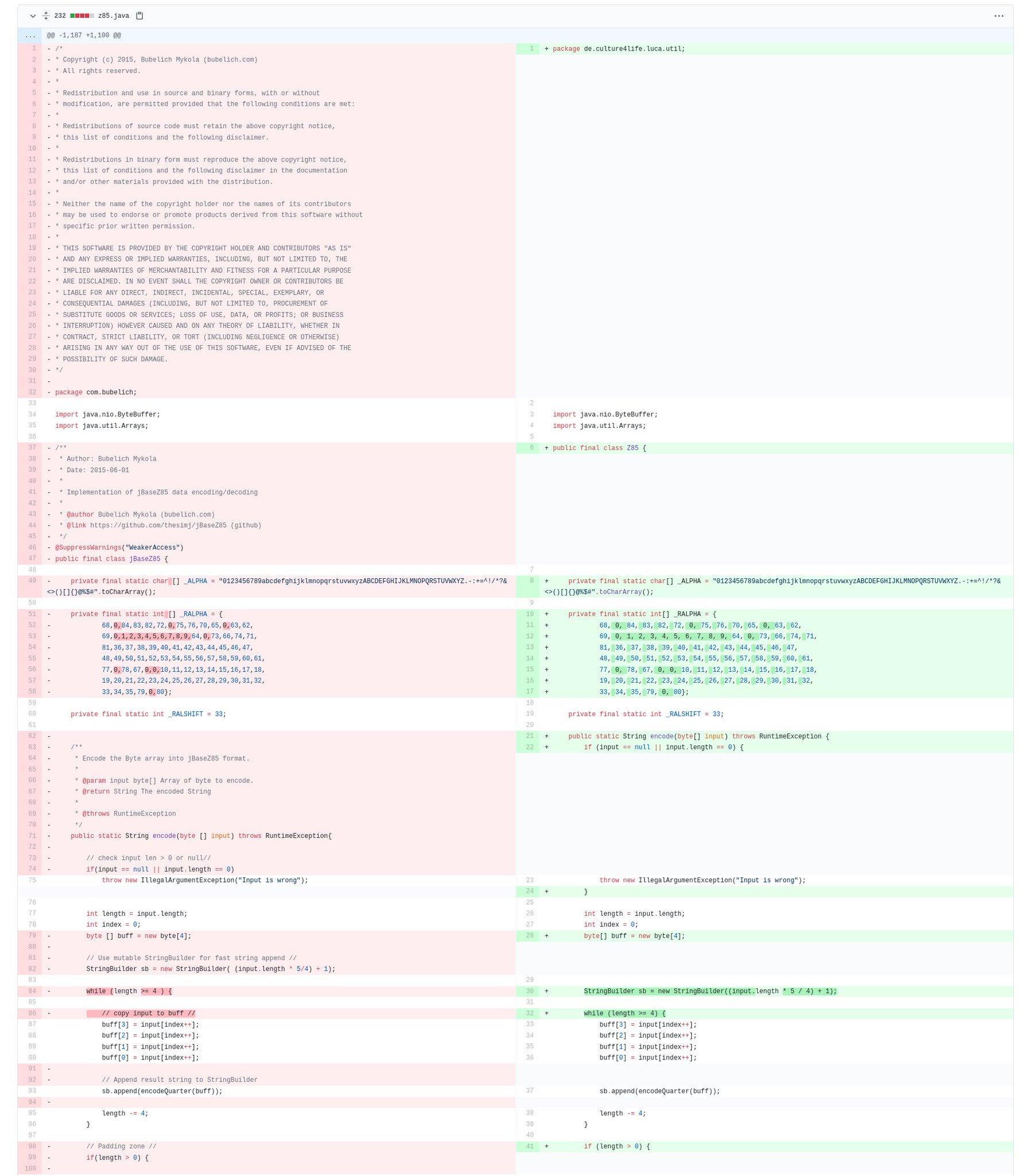 Side-by-side Diff des Original-Codes und des Luca-Codes
