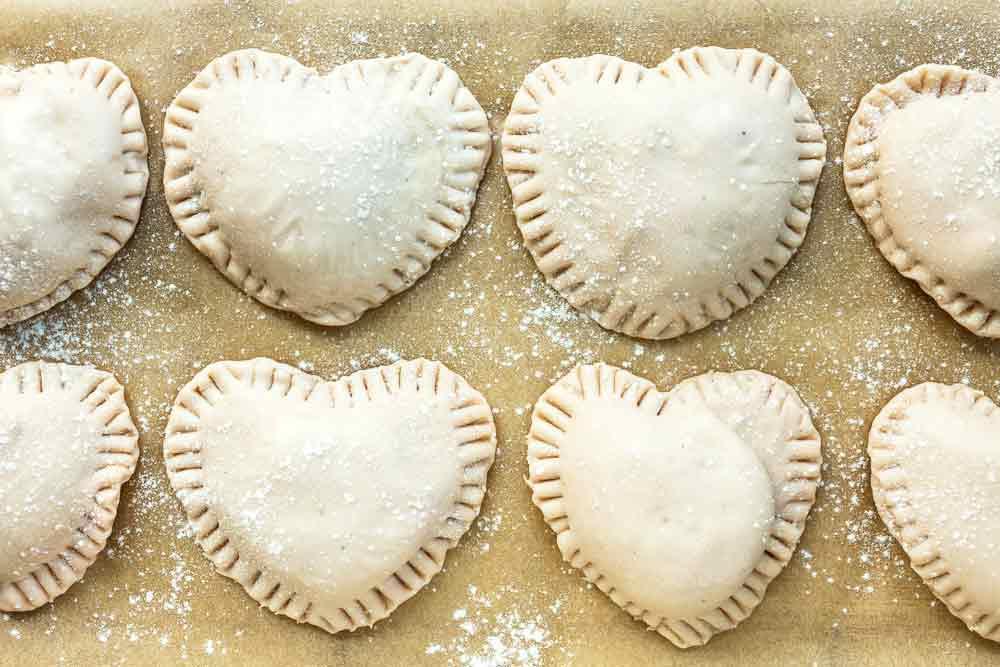 uncooked vegan heart ravioli