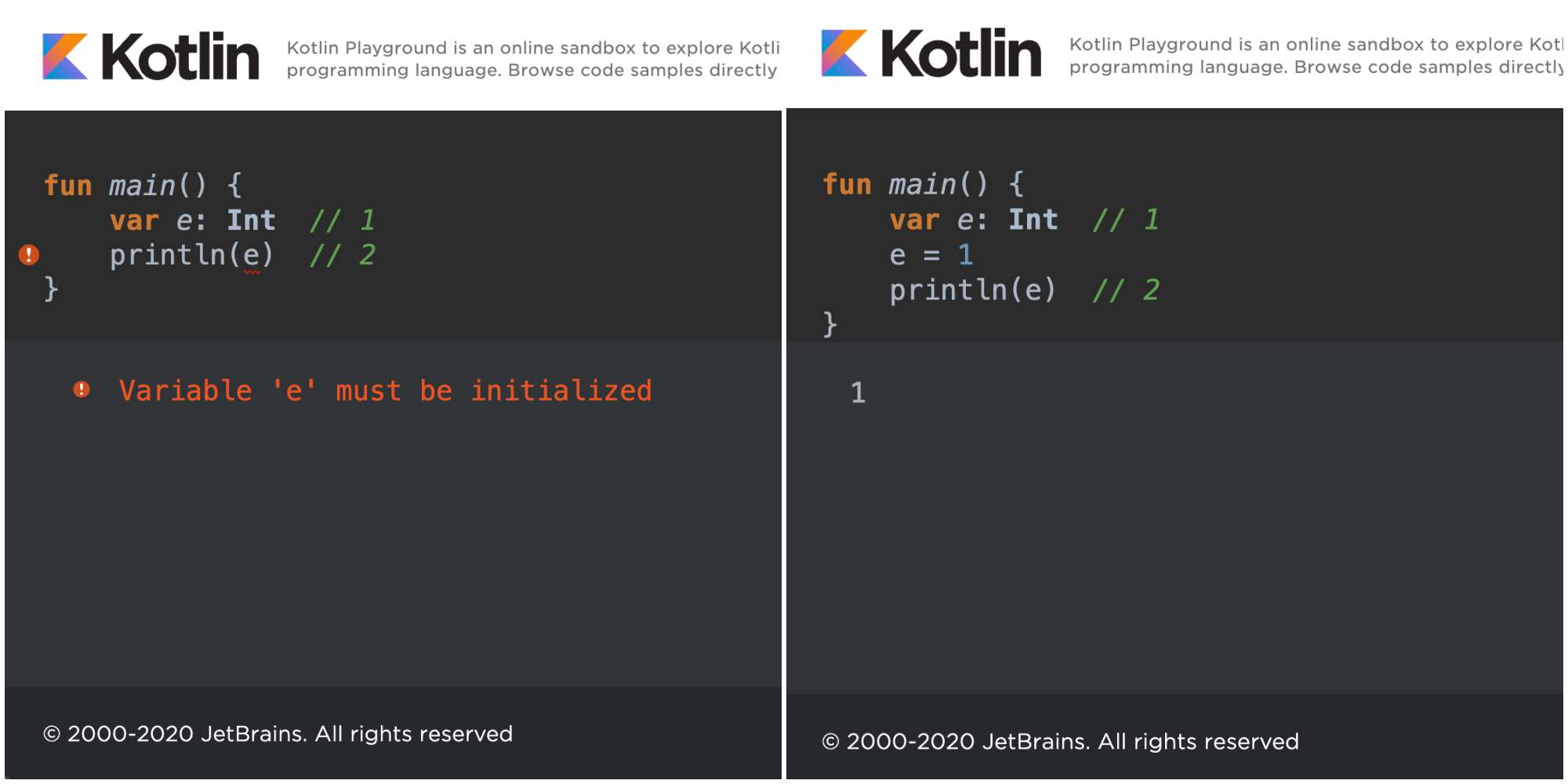 Kotlin Variable first read time