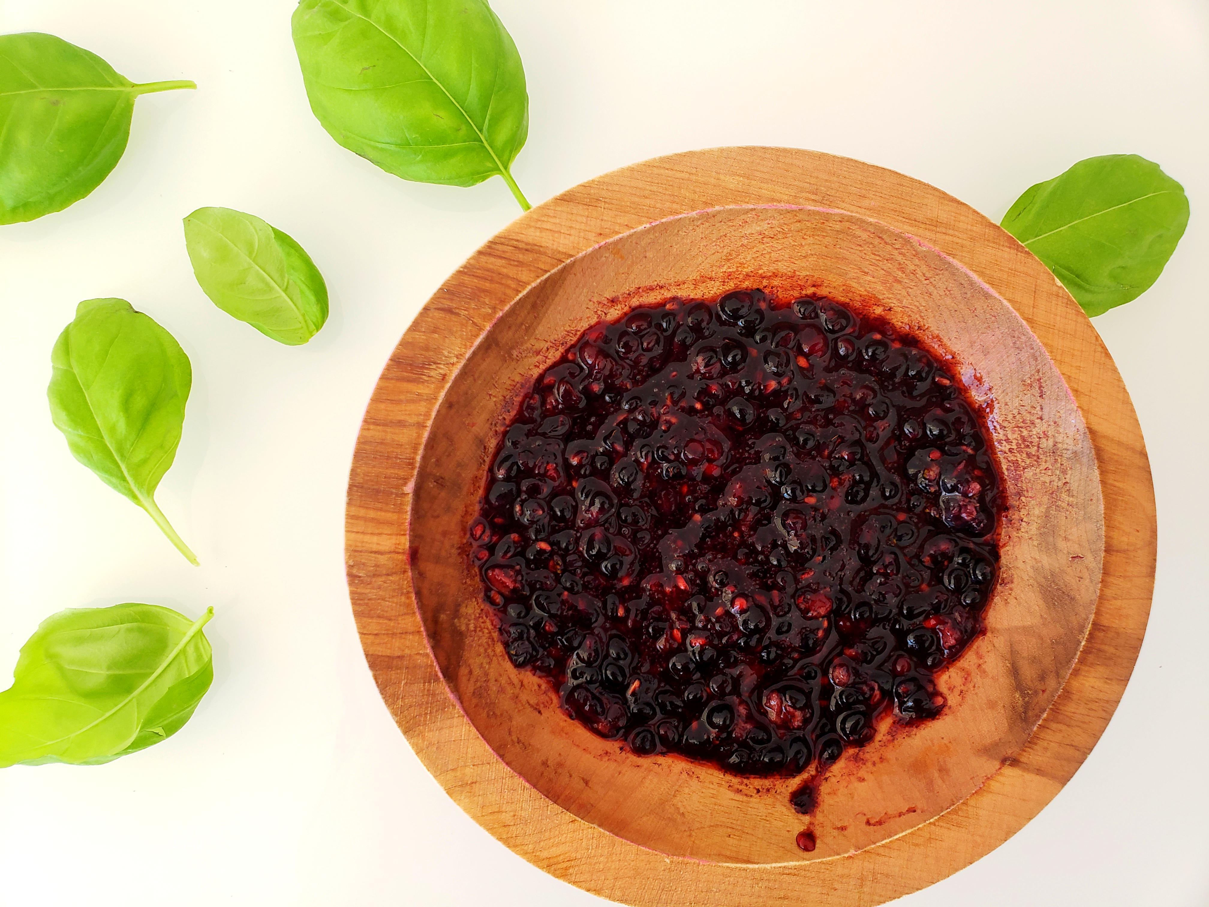Smashed Blackberries in Bowl