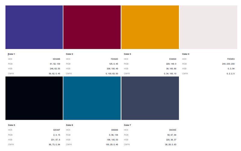 My light mode color palette