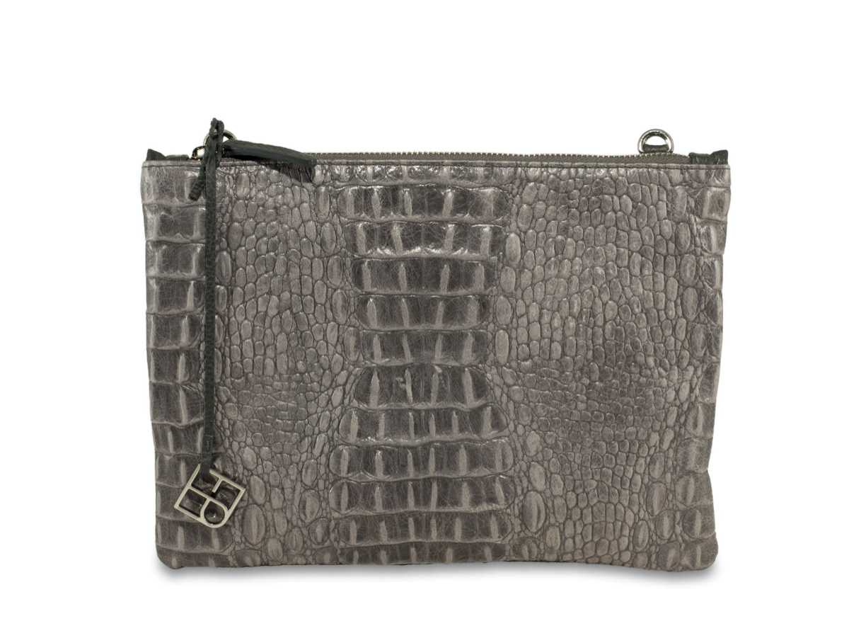 Peacock Pouch Single – croc grey