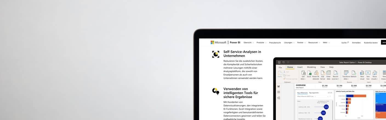 Screenshot eines Power BI Berichts auf Laptop